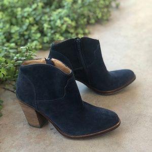 Lucky Brand Blue Suede Block Heel Booties Boots